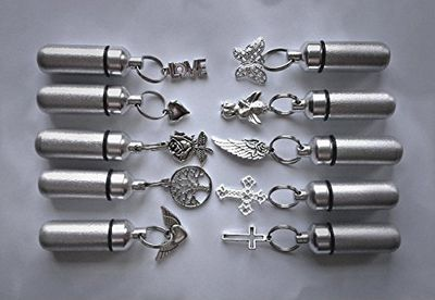 Wonderful FAMILY ASSORTMENT of TEN Brushed Silver CREMATION URN Keepsakes - Laser ENGRAVED with Hearts - Includes 10 Velvet Pouches, 10 Ball-Chains & Fill Kit