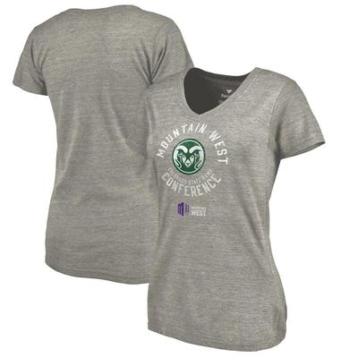 Colorado State Rams Women's Conference Stamp Tri-Blend V-Neck T-Shirt - Ash