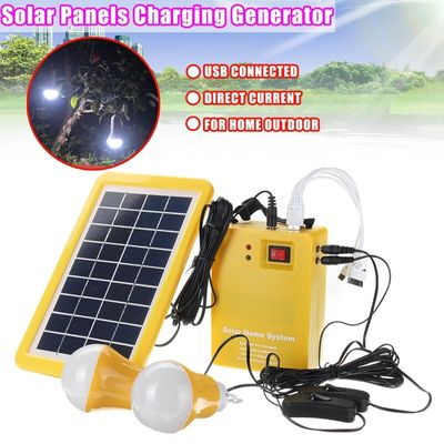 LEORY 2 x 1W Bulb + DC 9V 3W Solar Panel Battery Charger Portable Home Outdoors Solar Charging Generator Power Generation Energy