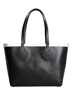 Burberry Giant House Check Reversible Canvas & Leather Tote