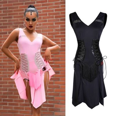 Latin Dance Dress Black Sexy Sleeveless Split Skirt Rumba Cha Cha Samba Dancing Women Practice Performance Clothes Wear DN3784