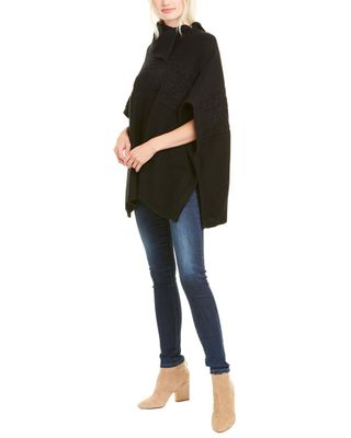 Forte Cashmere Zip Neck Cable Wool & Cashmere-Blend Poncho