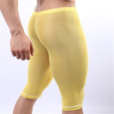 Men Sexy Underpants U pouch and Mesh See Through Design Knee Length Breathable Pajama Pants Male Underwear Bragas