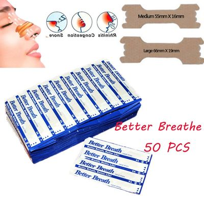 50 Pcs Breathe Nasal Strips Right Way Stop Snoring Anti Snoring Strips Easier Better Breathe Health Care