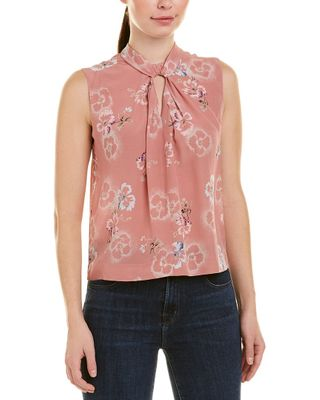 Rebecca Taylor Faded Floral Knot Silk Top