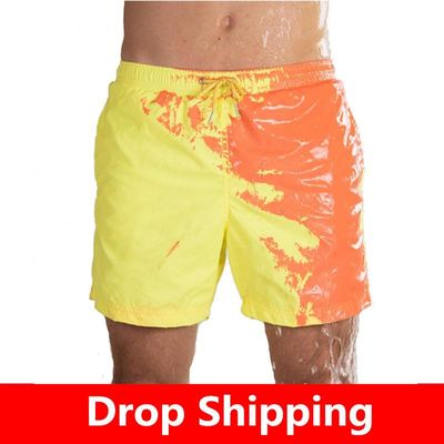Beach Short Change Color Beach Pant for Boy Quick Dry High Temperature Discoloration Running Gym Summer Swimming Shorts
