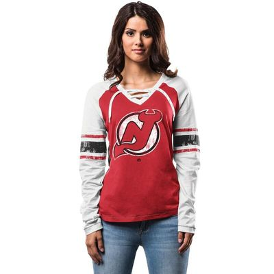 New Jersey Devils Majestic Women's Shorthanded Fashion Long Sleeve T-Shirt - Red