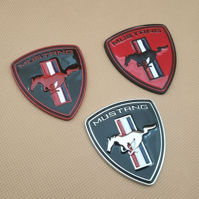 Metal Car Styling Running Horse Door Badge Sticker Trunk Fender Auto Emblem 3 Colour Decal For Mustang