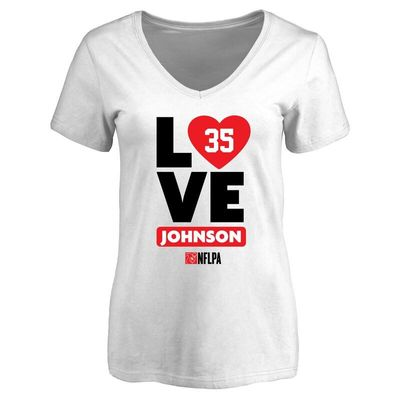 Austin Johnson Fanatics Branded Women's I Heart V-Neck T-Shirt - White