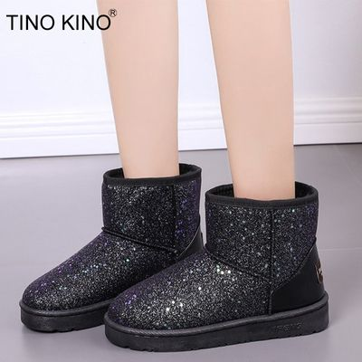 Women Glitter Snow Sheoes Woman Platform Warm Ankle Boots Short Plush  Soft Ladies Boot Fur Bling Female Casual Shoes 2020 New