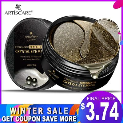 ARTISCARE Black Pearl Eye Masks 60pcs Remover Dark Circle Anti Wrinkle Collagen Eye Patches Moisturizing Under Eye Sleeping Mask