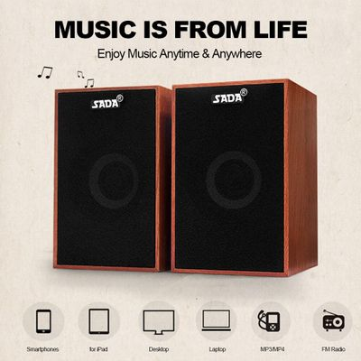 SADA AUX 3.5mm USB Wired Speakers Super Bass Wooden PC Speakers Mini Sound Box for Laptop Desktop Phone MP3 Music Player