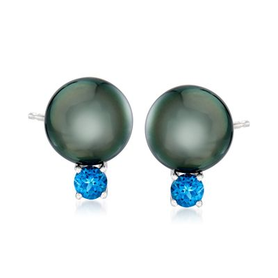 Ross-Simons Cultured Tahitian Pearl and London Blue Topaz Earrings in Sterling Silver