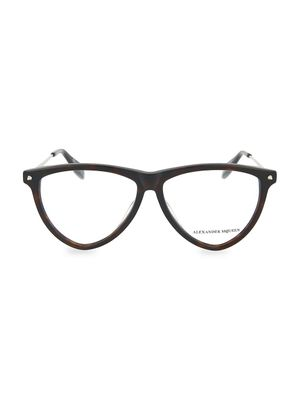 Alexander McQueen Core 55MM Aviator Optical Glasses