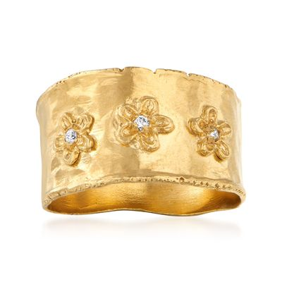 Ross-Simons 18kt Gold Over Sterling Flower Ring With Diamond Accents