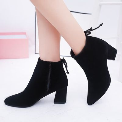MHYONS Women Ankle Boots 2019 Black Flock Winter Fashion Med High Heel Boots for Ladies Pointed Toe Plus Size Women Shoes