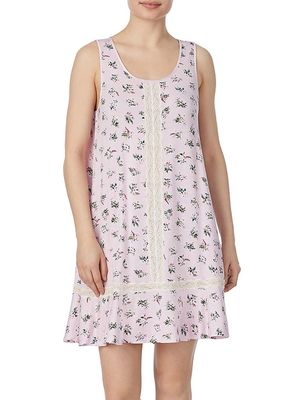 Kate Spade New York Lace-Insert Floral A-Line Chemise