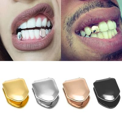 14k Gold Plated Hip Hop Teeth Grillz Caps Top or Bottom Grill False Teeth Whitening Gold Plated Small Single Tooth Cap