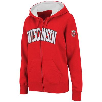 Wisconsin Badgers Stadium Athletic Women's Arched Name Full-Zip Hoodie - Cardinal