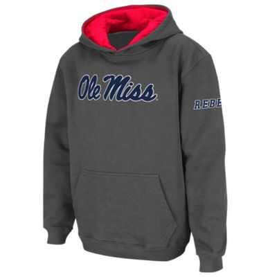 Ole Miss Rebels Stadium Athletic Youth Big Logo Pullover Hoodie - Charcoal