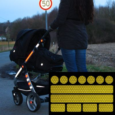 reflective sticker for pushchairs, bicycle helmets and more