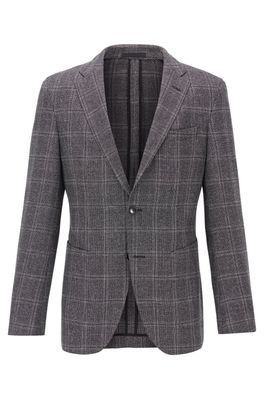 HUGO BOSS - Slim Fit Checked Jacket In A Wool Linen Blend