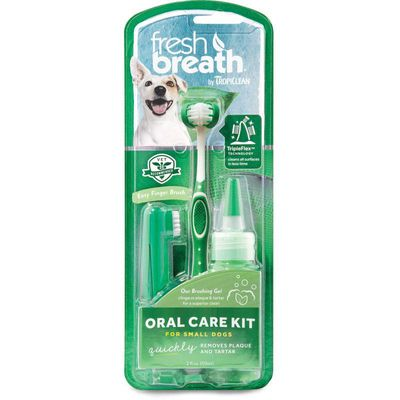 TropiClean Fresh Breath Oral Care Kit for Small and Medium Dogs - Made in USA