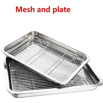 Wire Steaming Kebab Barbecue Mesh Rack BBQ Grill Mesh Tool Net Carbon Stainless Steel deep Square Plate cafeteria Storage trays
