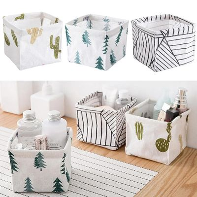 3pcs Storage Bin Basket Table Desktop Makeup Brush Lipstick Storage Bin Closet Toy Box Container Organizer Fabric Basket