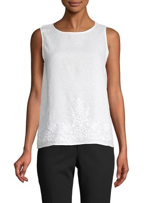 Saks Fifth Avenue Embroidered Linen Sleeveless Top