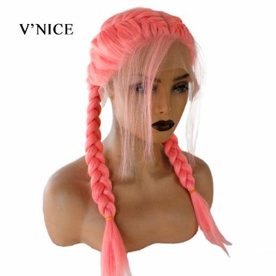 V'NICE Pink Double Braid Wig With Baby Hair Synthetic Lace Front Wigs Heat Resistant Fiber Hair Braided Middle Parting