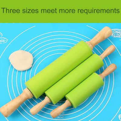 S M Non-Stick Wooden Handle Silicone Rolling Pin Pastry Dough Flour Roller Kitchen Baking Cooking Tools Christmas Rolling Pin