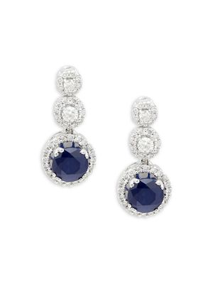 Saks Fifth Avenue 14K White Gold, Sapphire & Diamond Drop Earrings