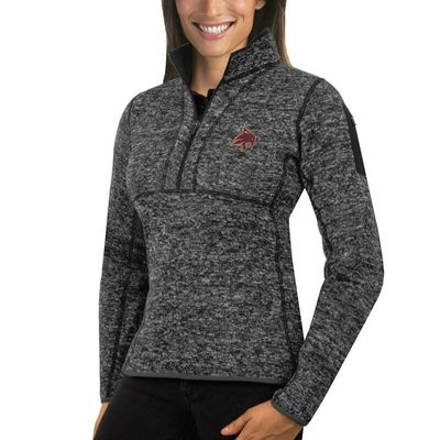 Texas State Bobcats Antigua Women's Fortune 1/2-Zip Pullover Sweater - Charcoal