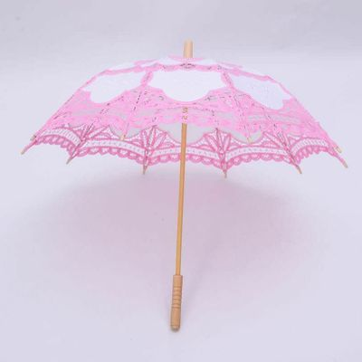 Pink Craft Umbrella Decoration Wedding Crafts Lacey Cotton Photography Props New