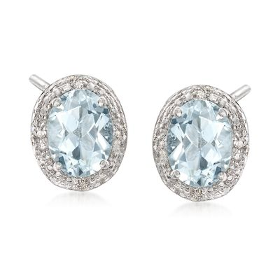 Ross-Simons Aquamarine Earrings With Diamond Accents in Sterling Silver