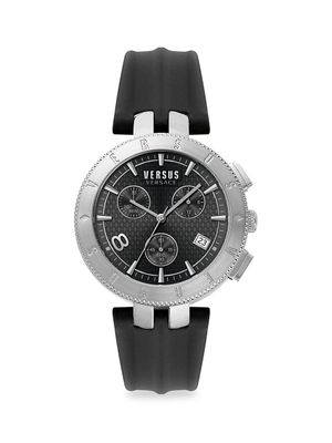 Versus Versace Stainless Steel & Leather-Strap Watch