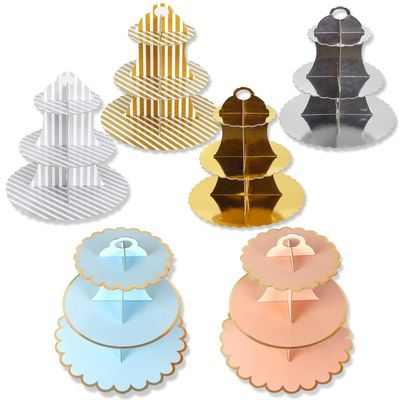Disposable 3 Tier Paper Cake Stand Afternoon Tea Wedding Party Plates Tableware Sweets Tray Dinner Display Bakeware Cake Rack