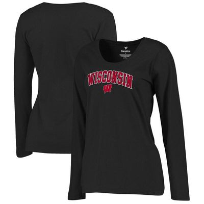 Wisconsin Badgers Women's Campus Long Sleeve T-Shirt - Black