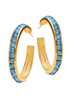 Kenneth Jay Lane Couture Collection Goldplated & Aqua Hoop Earrings
