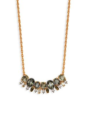 Alexis Bittar Goldplated Pyrite & Crystal Bar Pendant Necklace