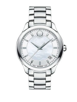 Movado Bellina Diamond, Mother-Of-Pearl and Stainless Steel Bracelet Watch
