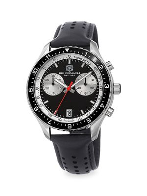 Bruno Magli Marco Chronograph Stainless Steel & Leather-Strap Watch