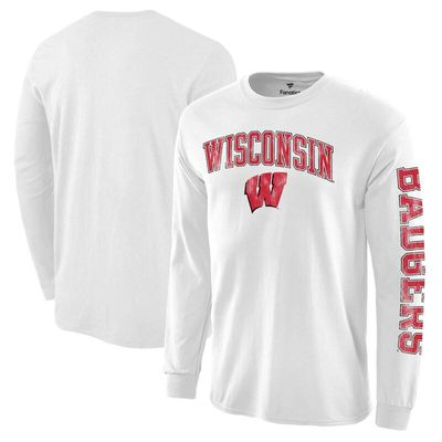 Wisconsin Badgers Distressed Arch Over Logo Long Sleeve Hit T-Shirt - White