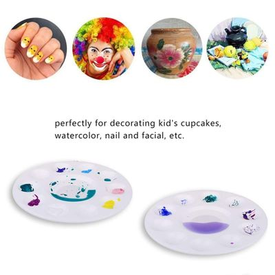 12 Pcs white MINI Paint Tray Palettes Plastic for DIY Craft Professional Art Painting supply painting tool Round paint palette