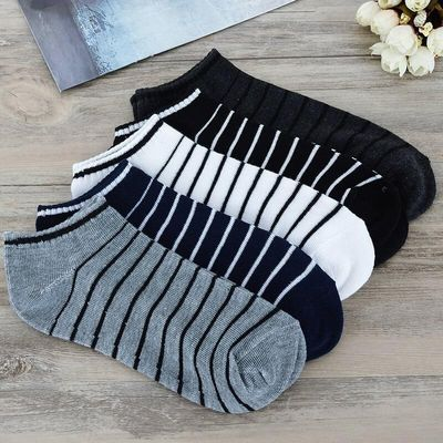 1 Pair Mens Low Cut Sports Socks Striped Breathable Socks For Male Comfortable Mesh Ankle Boat Socks 5 Colors D0369