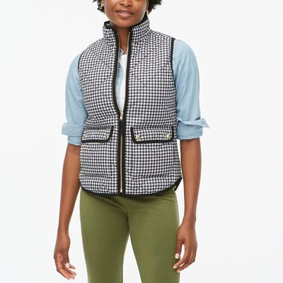 J.Crew Factory Houndstooth Puffer Vest With Snap Pockets