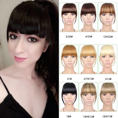 AliLeader Neat Front False Fringe Clip In Bangs Hairpiece With High Temperature Synthetic Hair