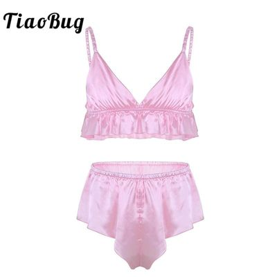 TiaoBug 2Pcs Mens Sissy Lingerie Soft Silky Bra Top with Loose Triangle Briefs Underwear Set Erotic Sexy Men Panties Underpants