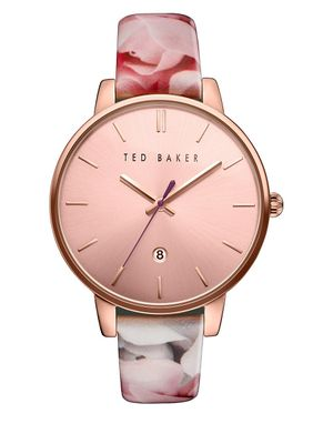 Ted Baker London Kate Round Floral Print Leather Strap Analog Watch